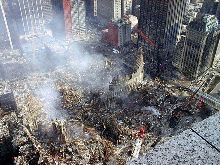 Ground Zero within New York City after terrorist attacks on 11 September 2001 - NOAA photo - Public Doman