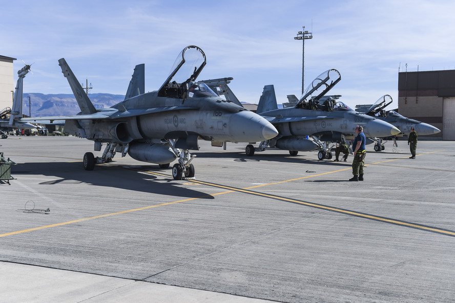 RCAF CF-18 Hornets on the flightline at Holloman Air Force Base NM 13 Feb 2018 - USAF photo by SA Chase Cannon 180213-F-GO091-057