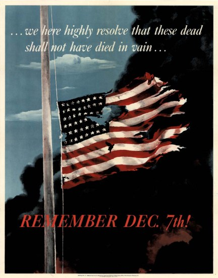 Remember December 7! poster by Allen Saalburg issued in 1942 by United States Office of War Information