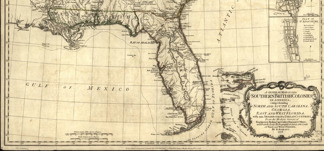 British West and East Florida - Cropped from A General Map of the Southern British Colonies in America - Library of Congress